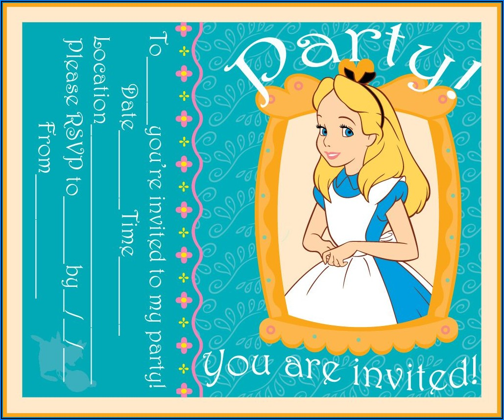 Alice In Wonderland Invitations Free Template