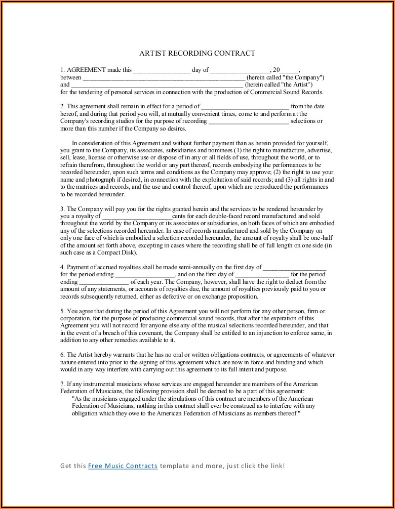 Artist Recording Contract Template Free