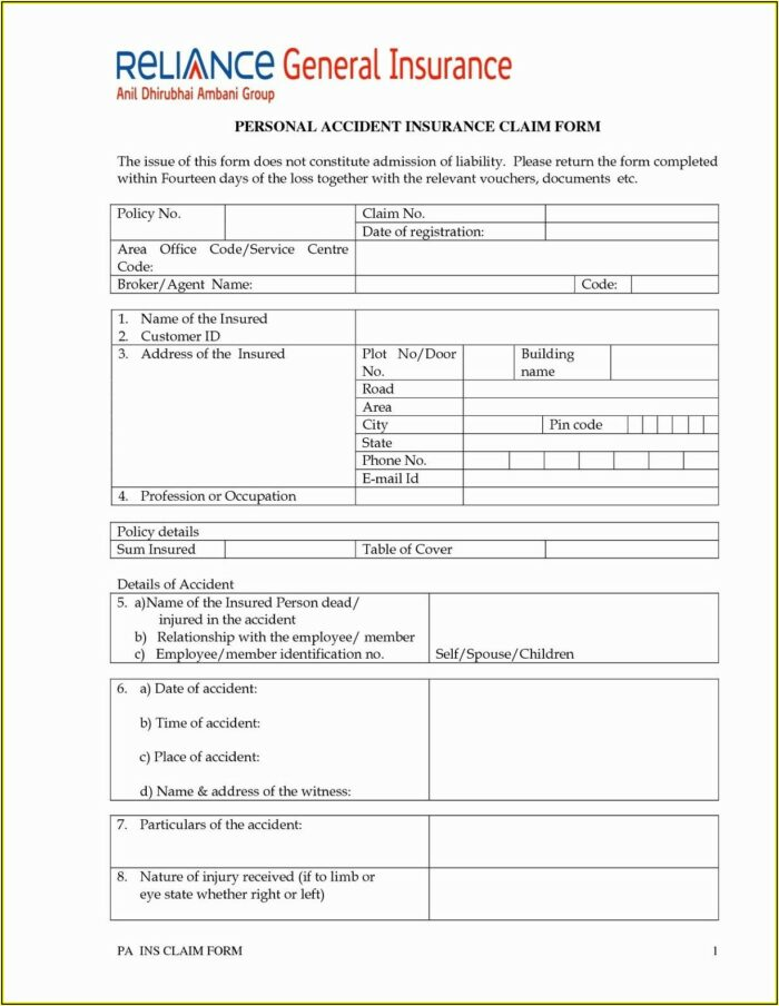 Auto Insurance Forms Template