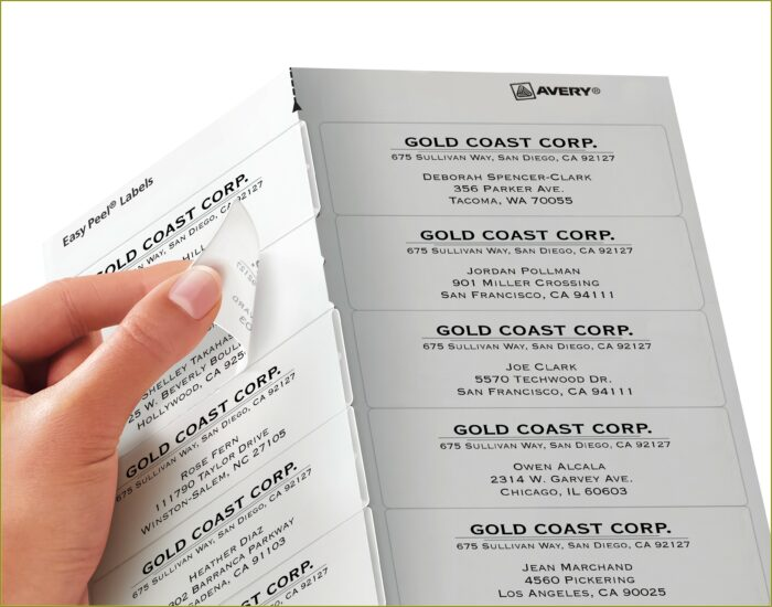 Avery Clear Labels Template 5662