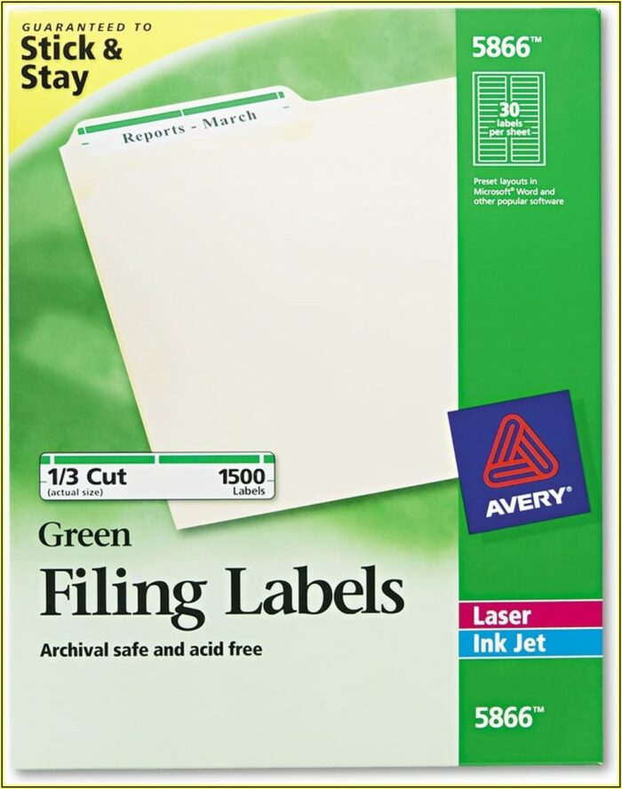Avery File Label Template 5866
