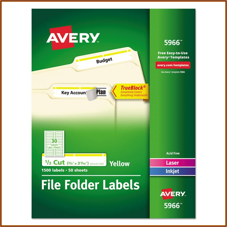 Avery File Label Template 5966