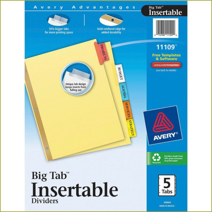 Avery Worksaver Tab Inserts Template Microsoft Word