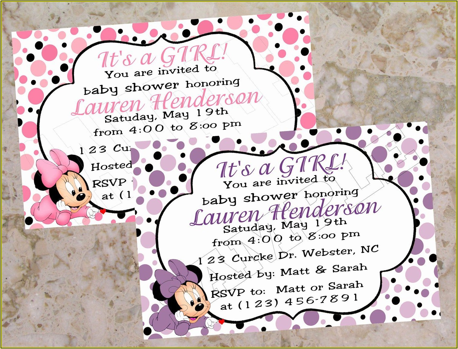 Baby Minnie Mouse Baby Shower Invitation Template