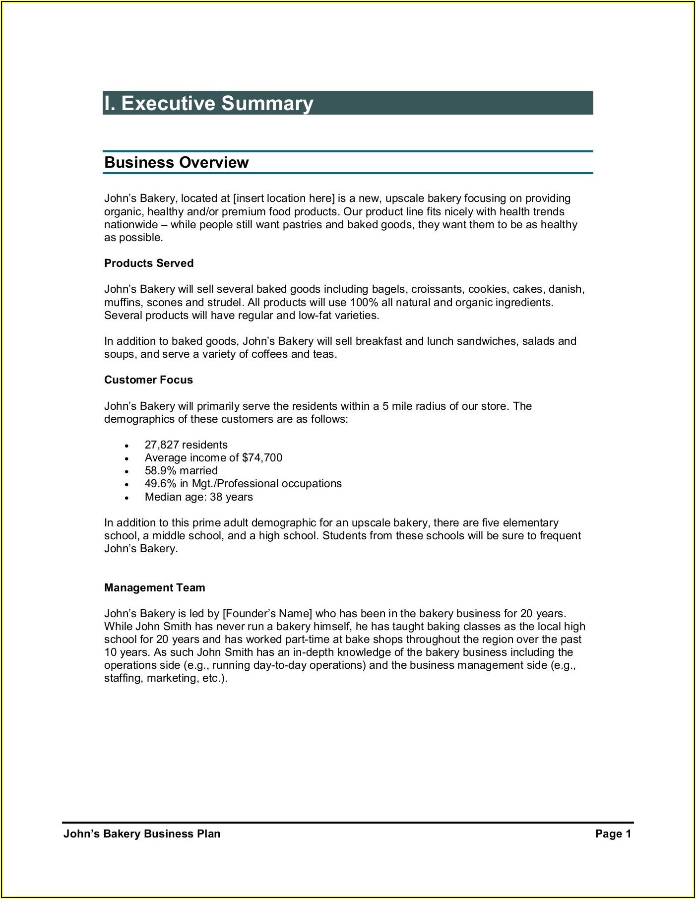 Bakery Business Plan Examples Pdf