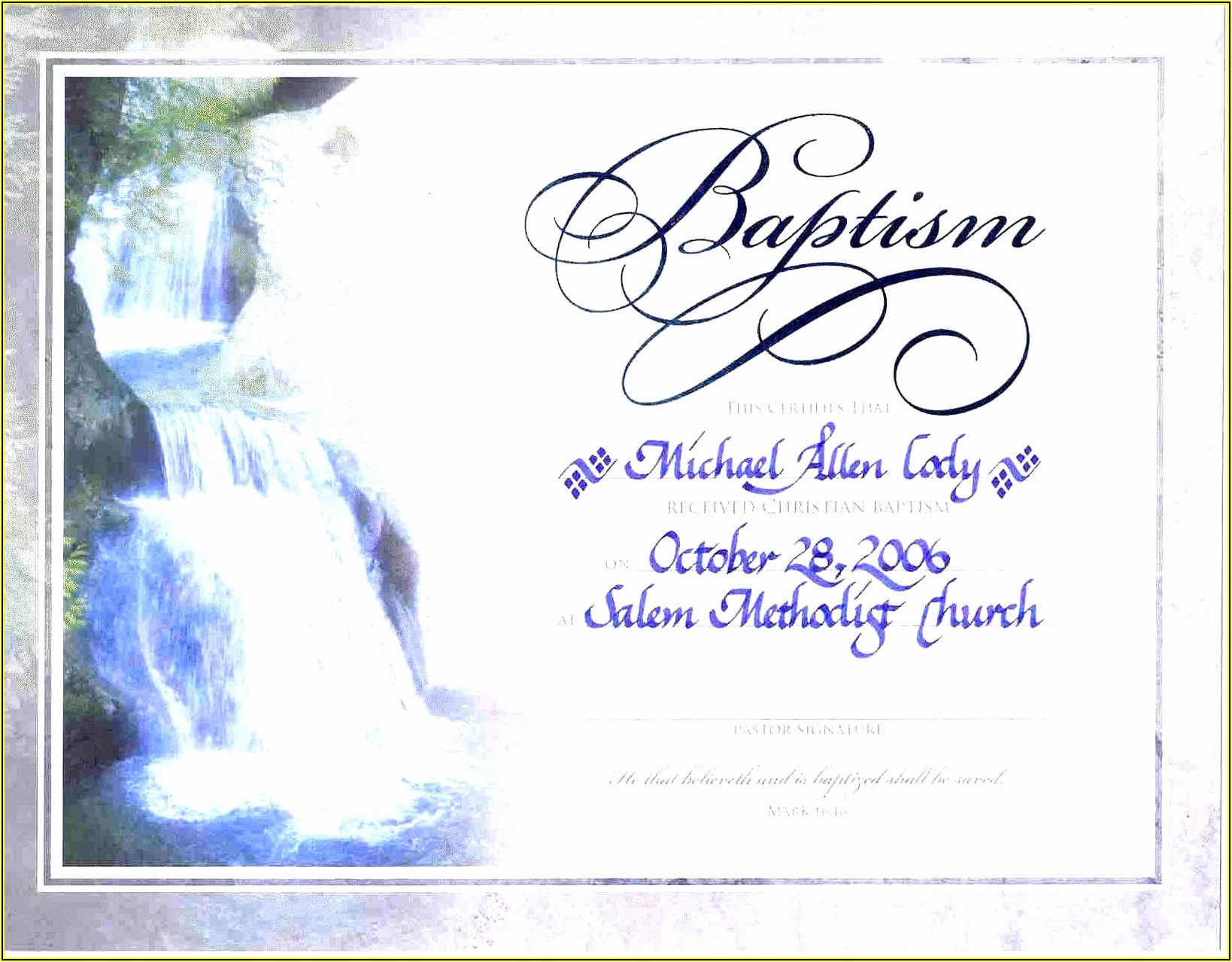 Baptism Certificate Templates Free Download