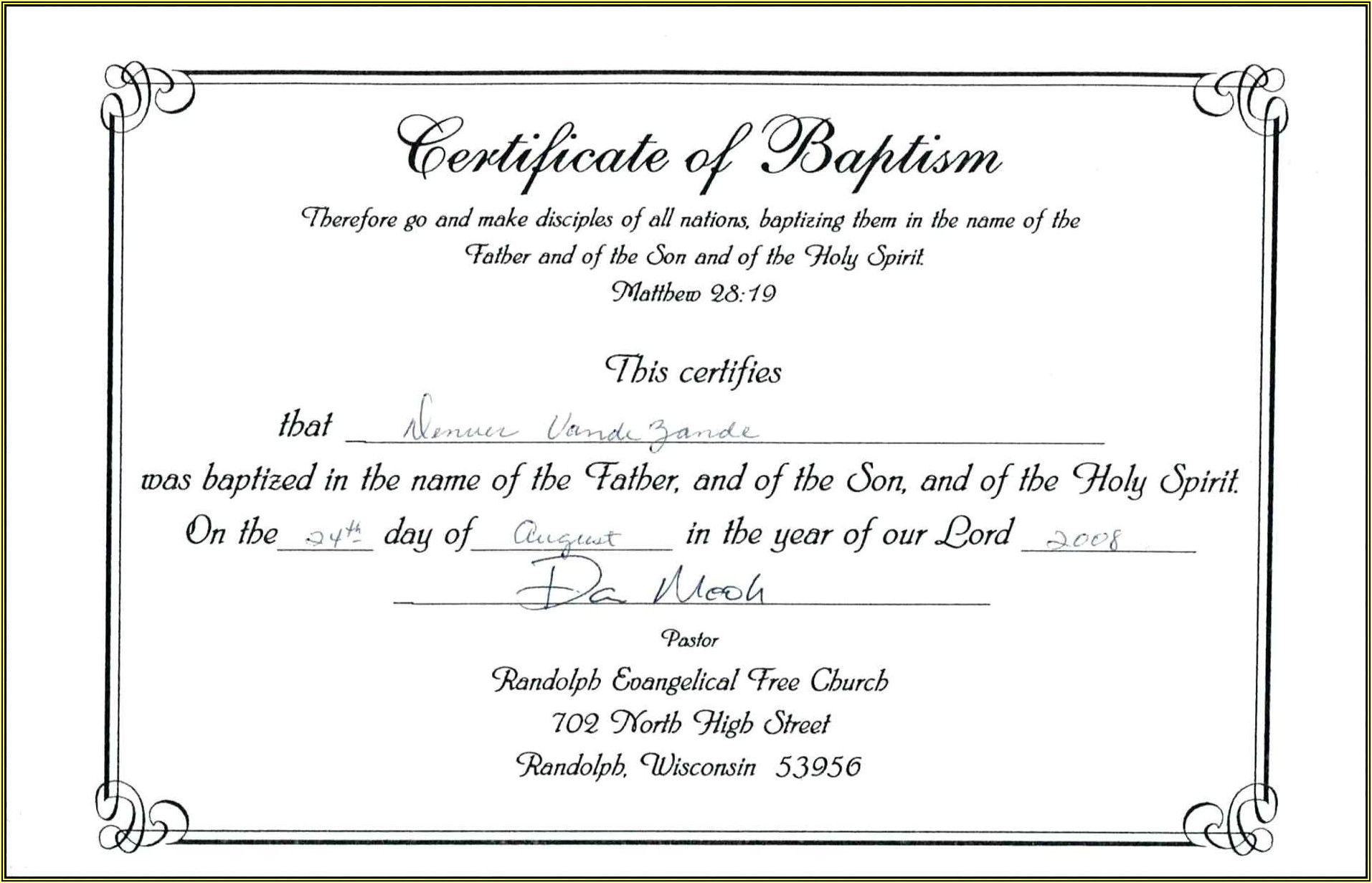 Baptism Certificates Templates Word
