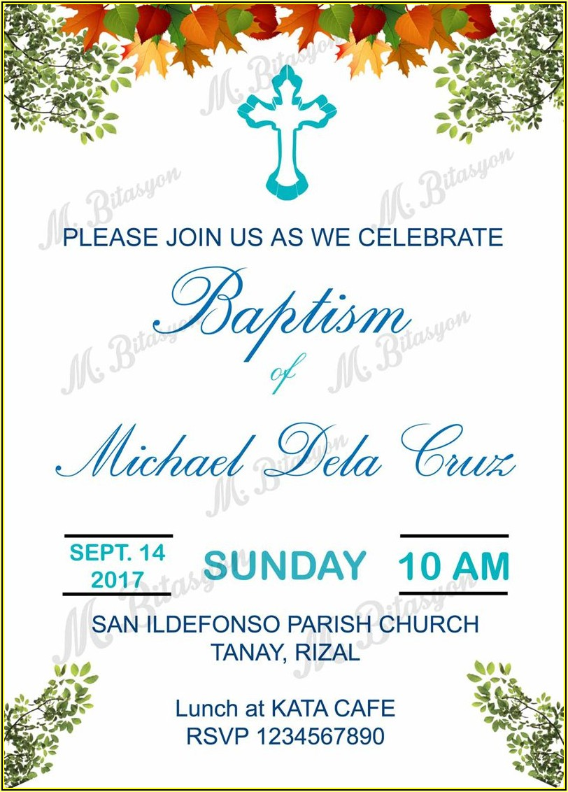 Baptismal Invitation Template For Baby Boy