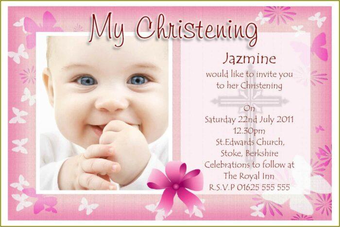 Baptismal Invitation Template For Baby Girl