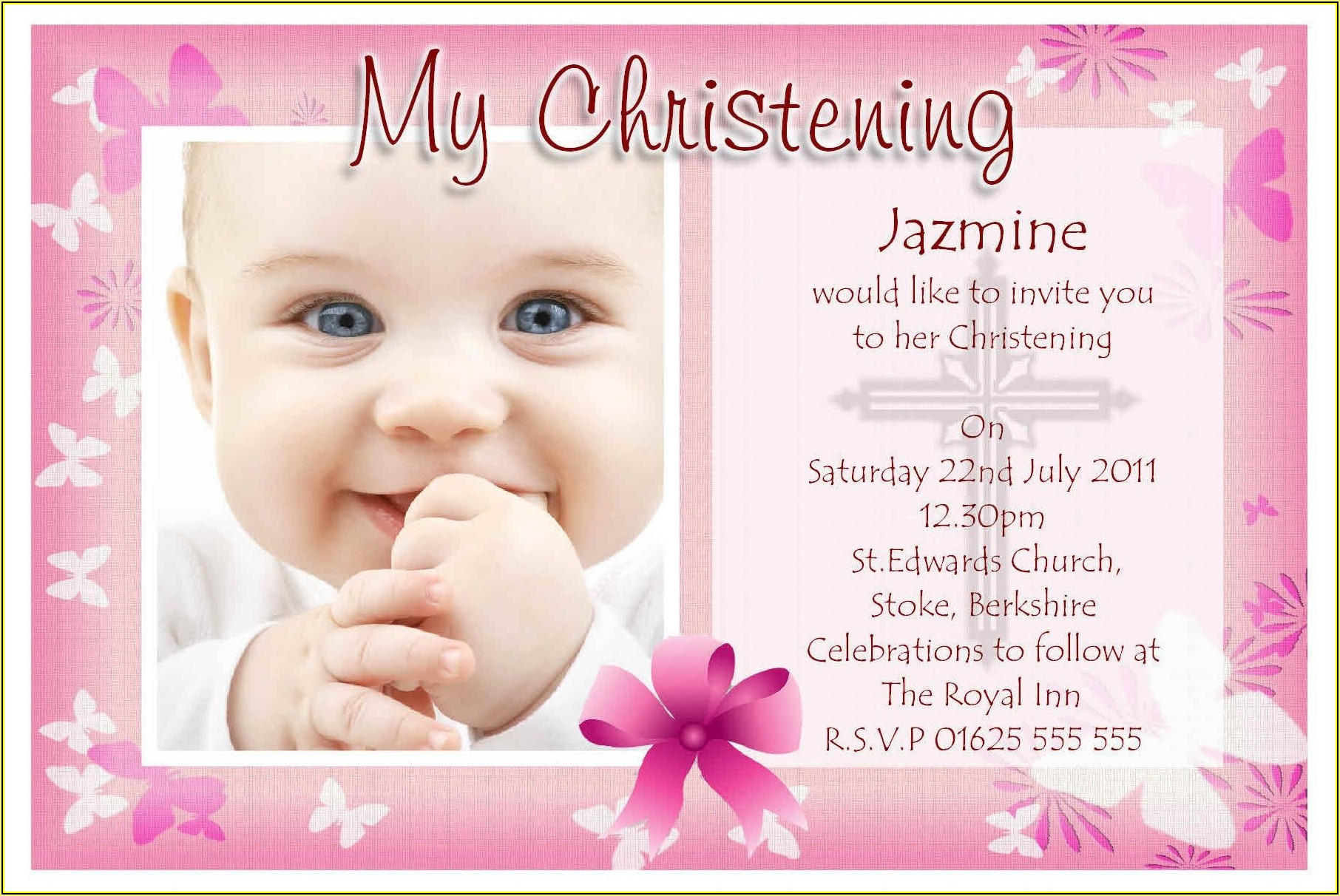 Baptismal Invitation Template For Baby Girl