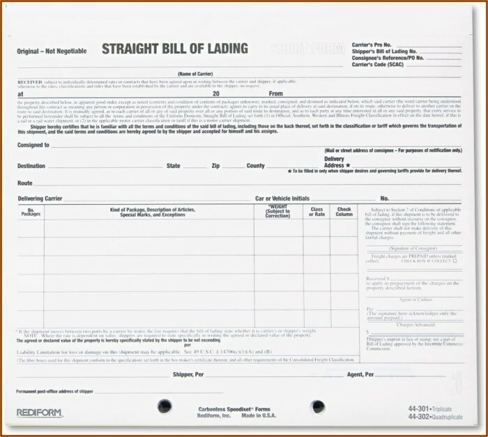 Blank Bill Of Lading Short Form