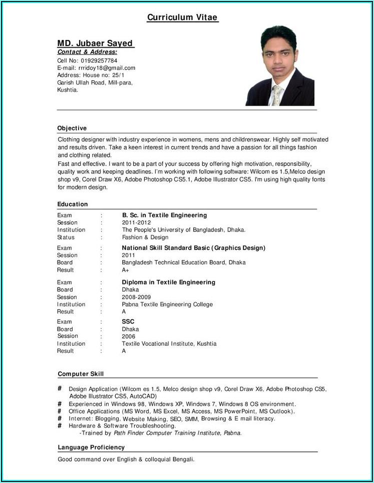 Blank Curriculum Vitae Template Pdf