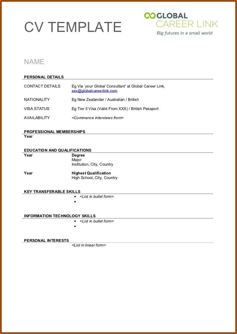 Blank Resume Format For Job Application Download
