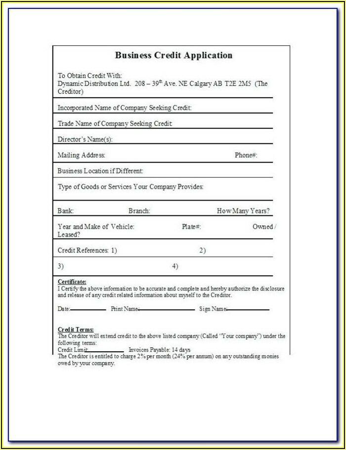 Business Credit Application Form Template Australia