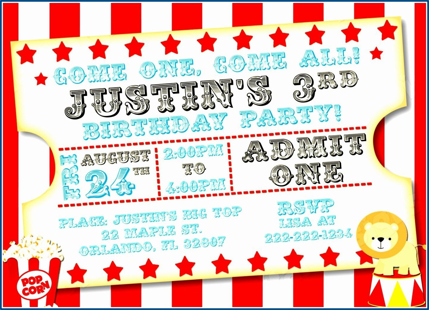 Carnival Birthday Invitations Free Template