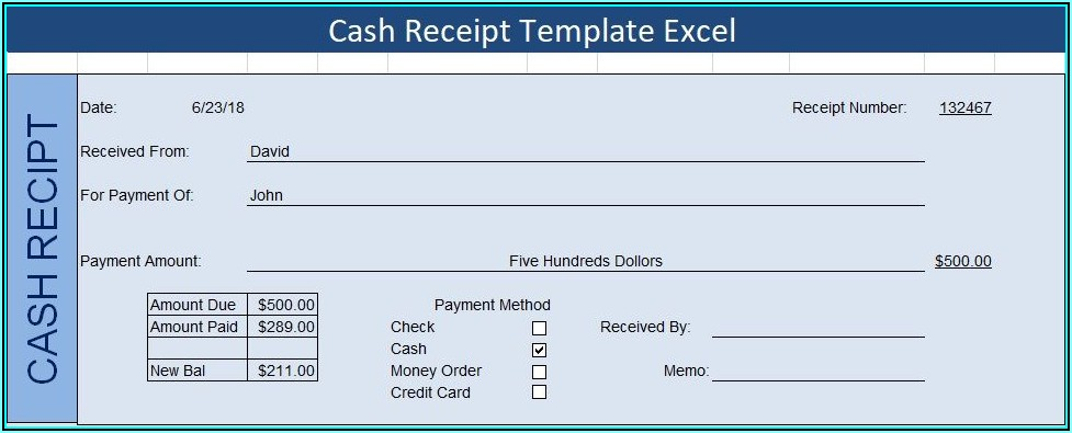 Cash Receipt Templates Excel