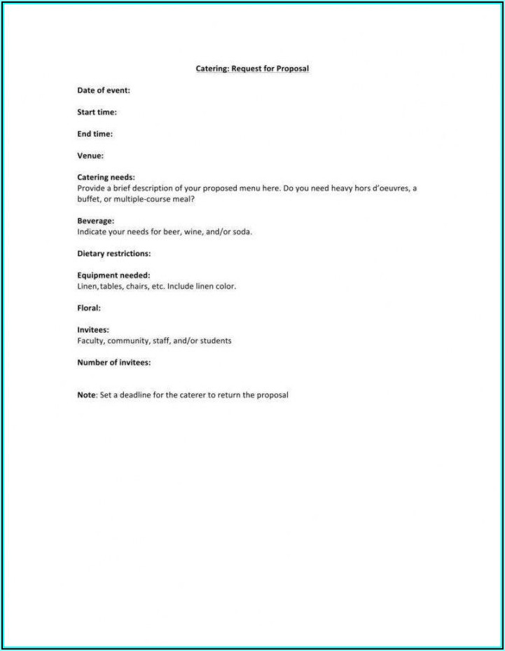Catering Bid Template