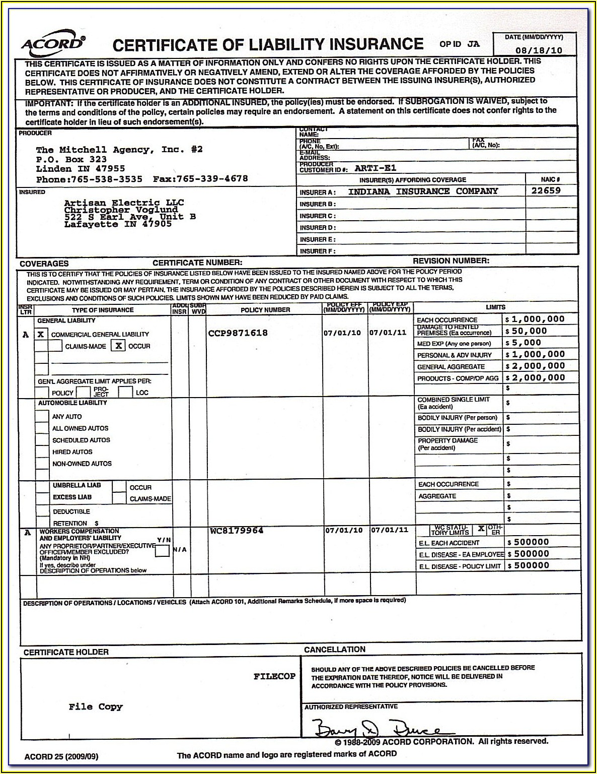 Certificate Of Liability Insurance Form Example
