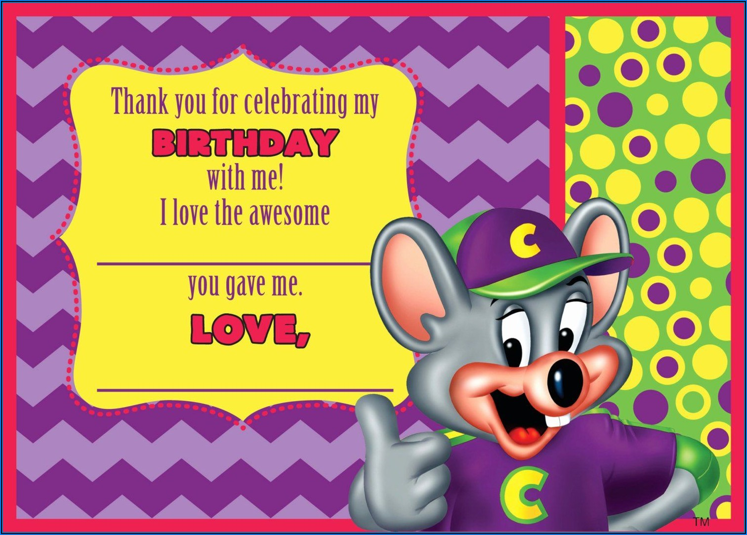 Chuck E Cheese Birthday Invitation Template