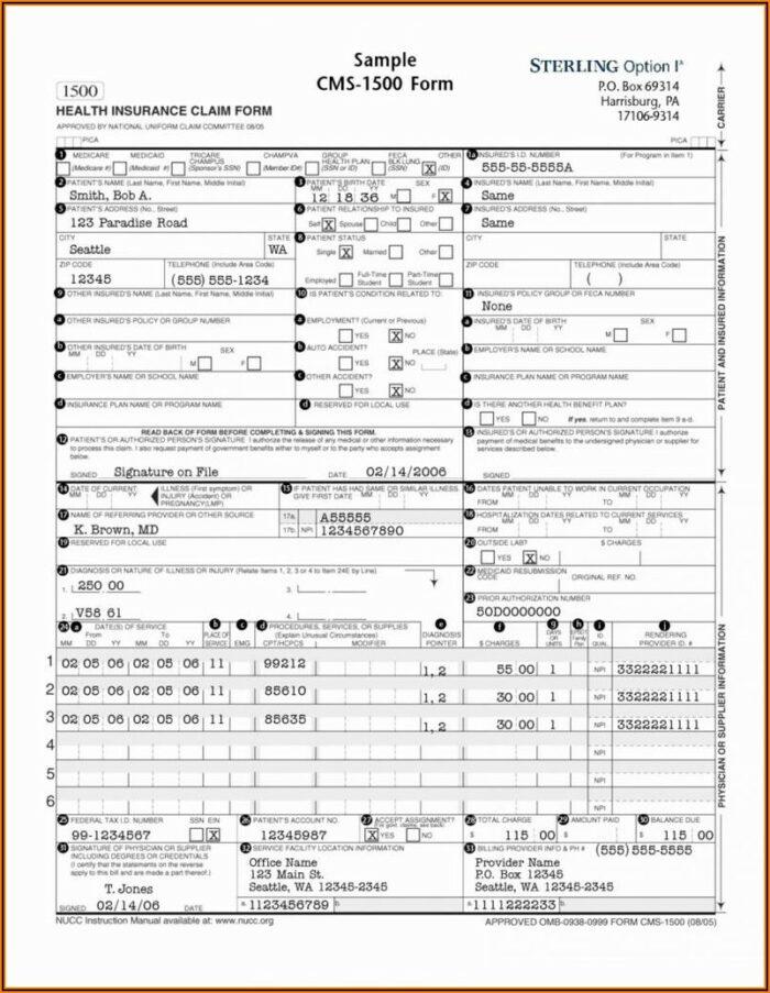 Cms 1500 (hcfa) Form (0212)