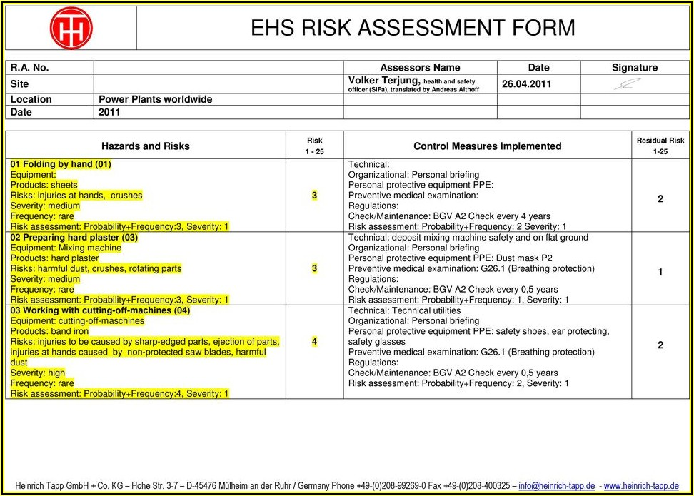Cnc Machine Risk Assessment Example