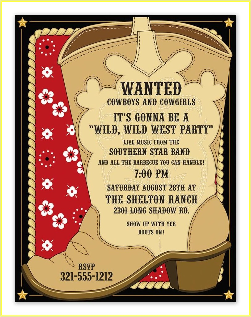 Cowboy Birthday Party Invitation Template