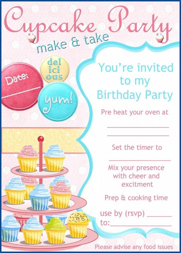 Cupcakes Birthday Invitations Templates Free