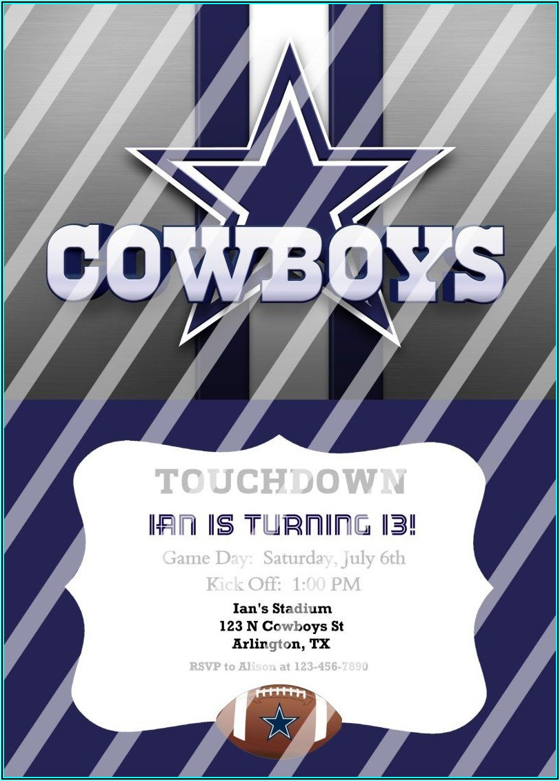 Dallas Cowboys Birthday Party Invitation Templates