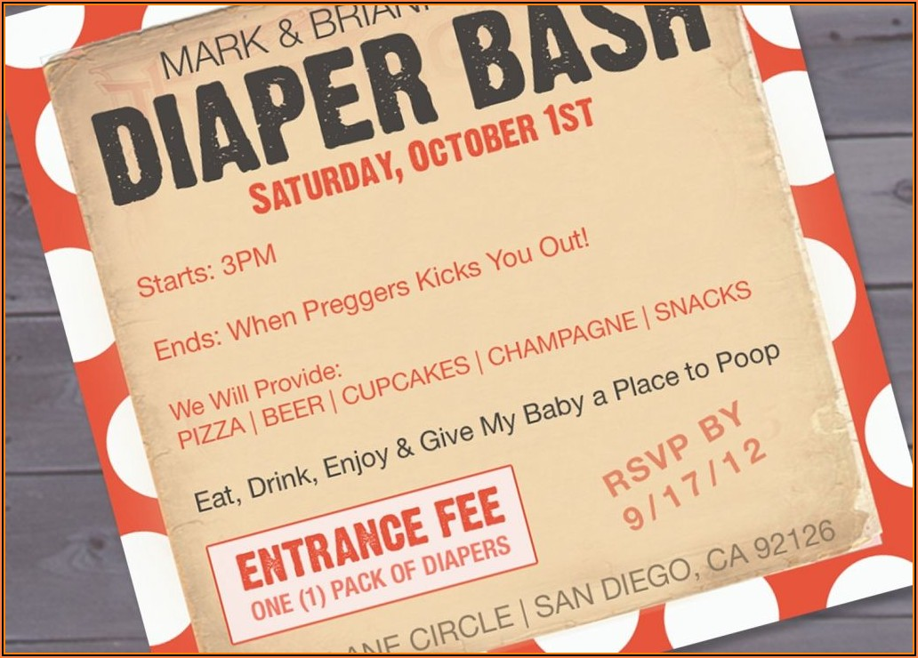 Diaper And Beer Party Invitation Template Free