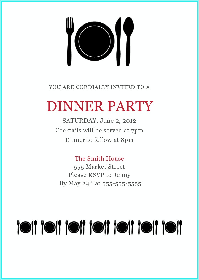 Dinner Invitation Template Business