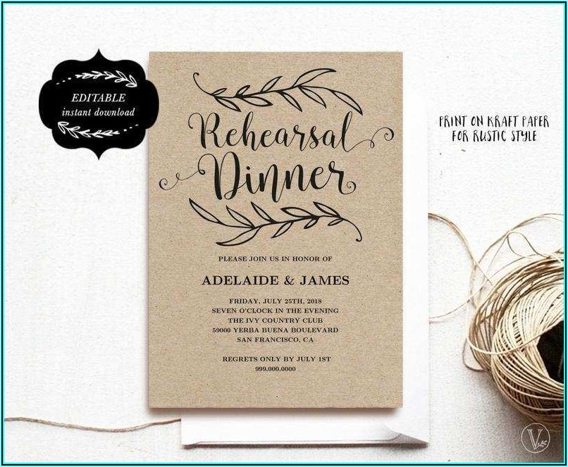 Dinner Invitation Template Card