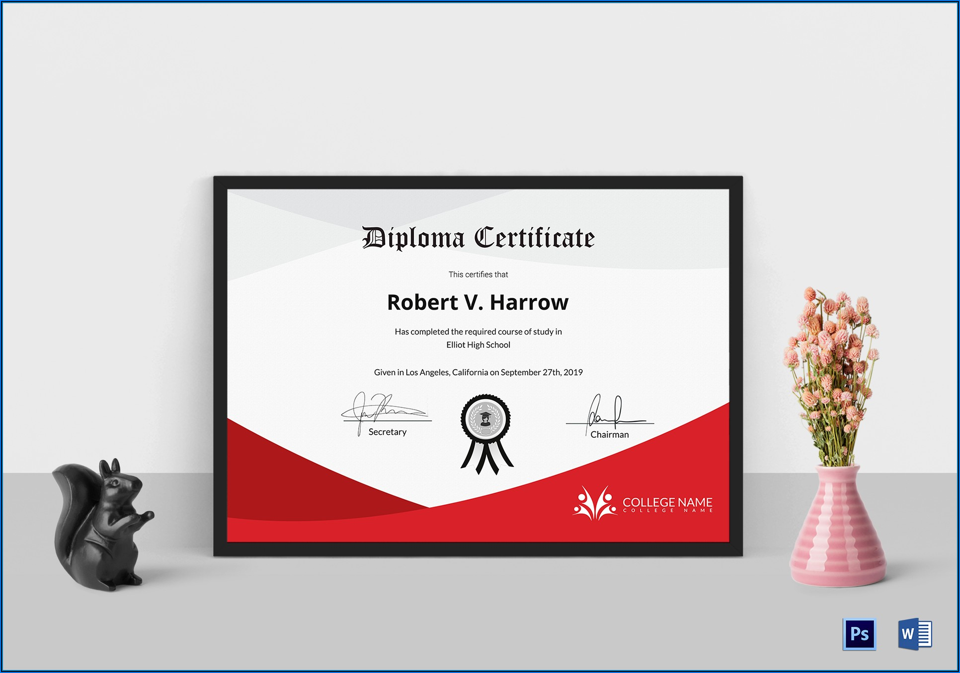 Diploma Certificate Template Psd