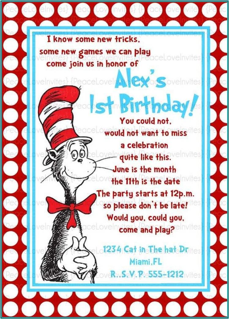 Dr Seuss Invitation Template Free