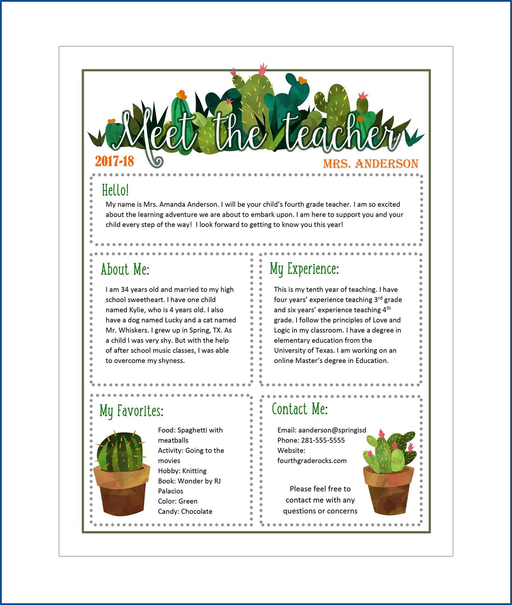 Easy Newsletter Templates For Teachers
