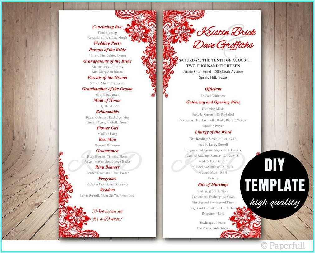 Editable Free Downloadable Wedding Program Templates Microsoft Word