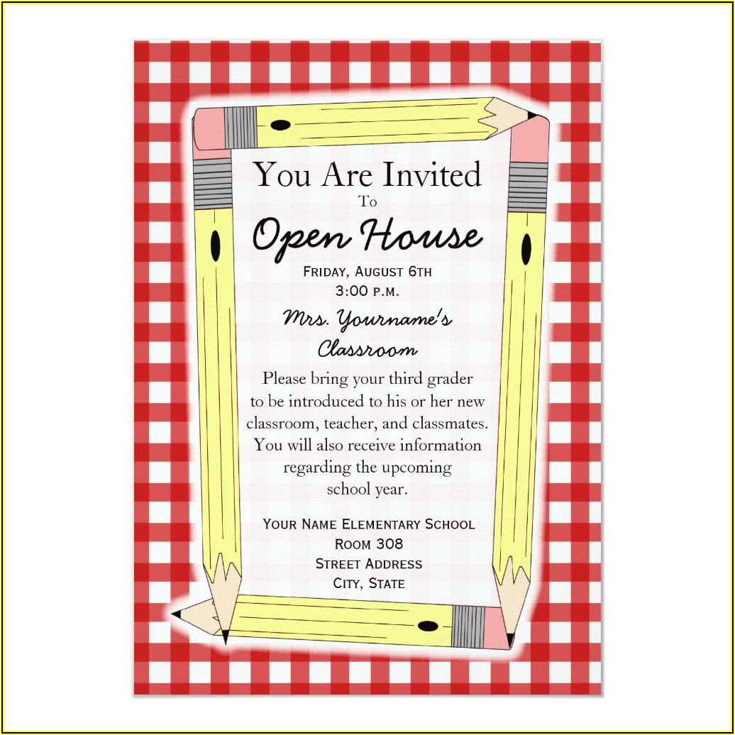 Elementary School Open House Invitation Template
