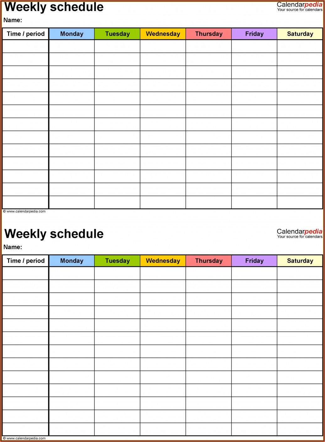 Excel Work Schedule Calendar Template