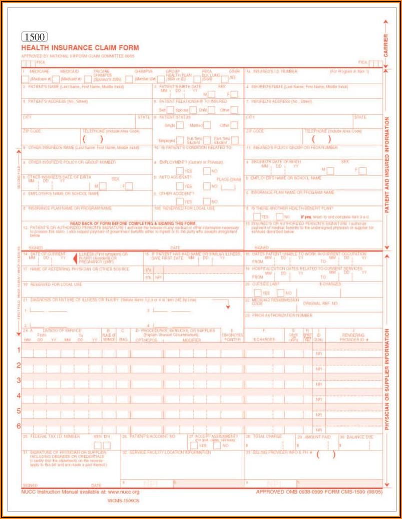 Fillable Cms 1500 Form Download