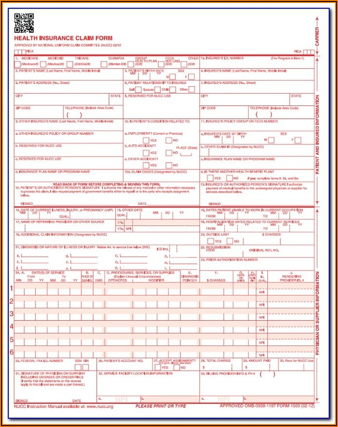 Fillable Cms 1500 Form Pdf
