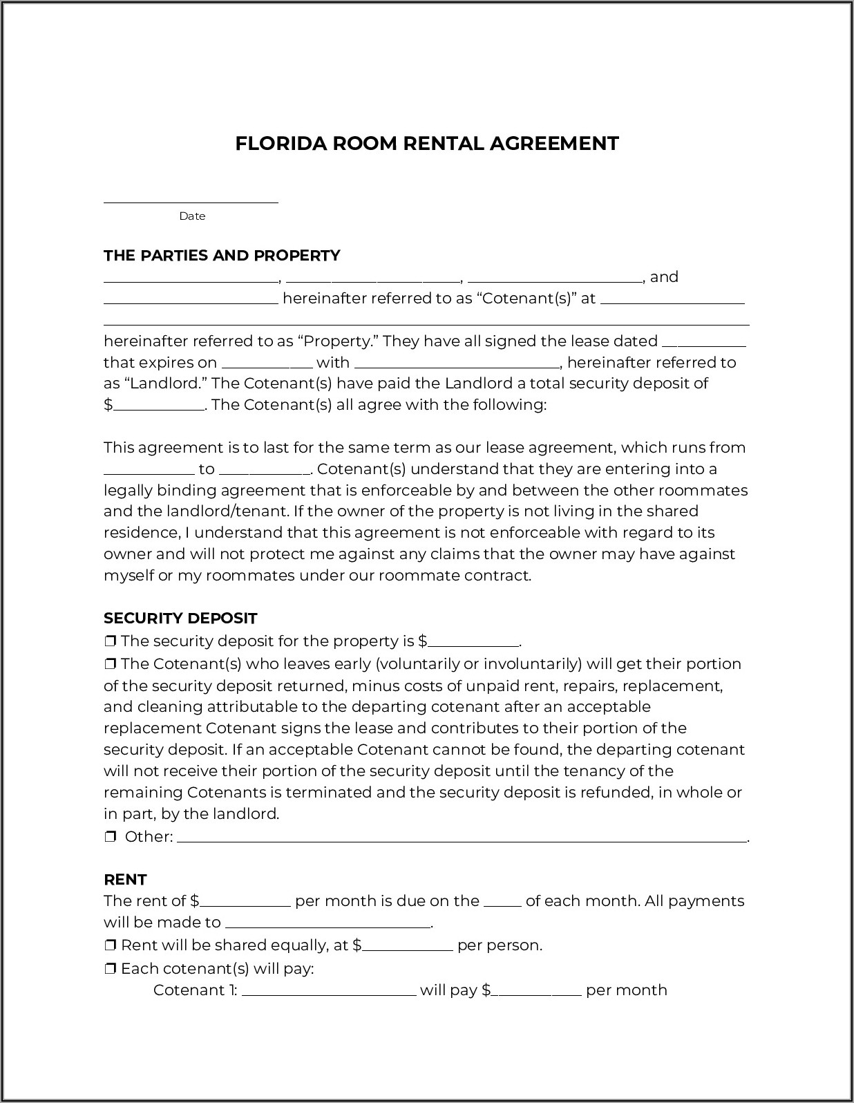 Florida Rental Lease Agreement Template