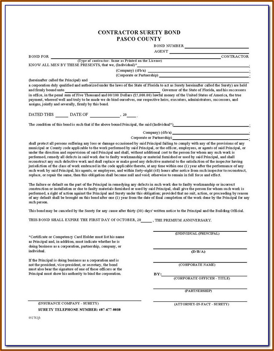 Florida Surety Bond Form