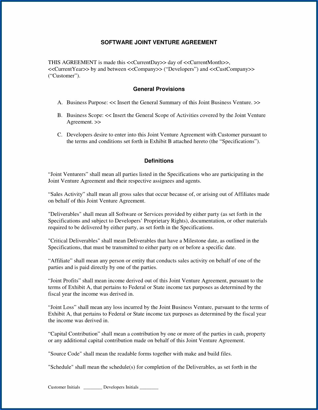 Format Of Joint Venture Agreement Between Two Companies