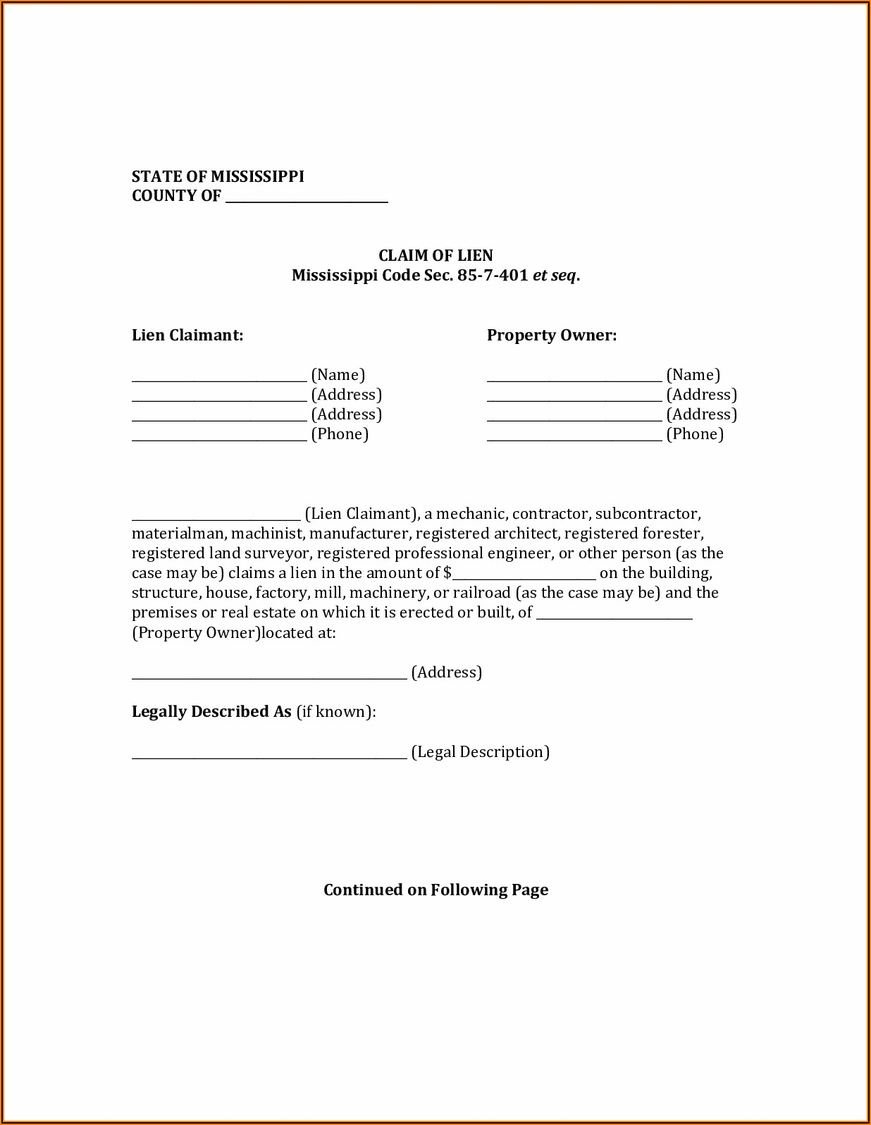 Free Alabama Mechanic Lien Form