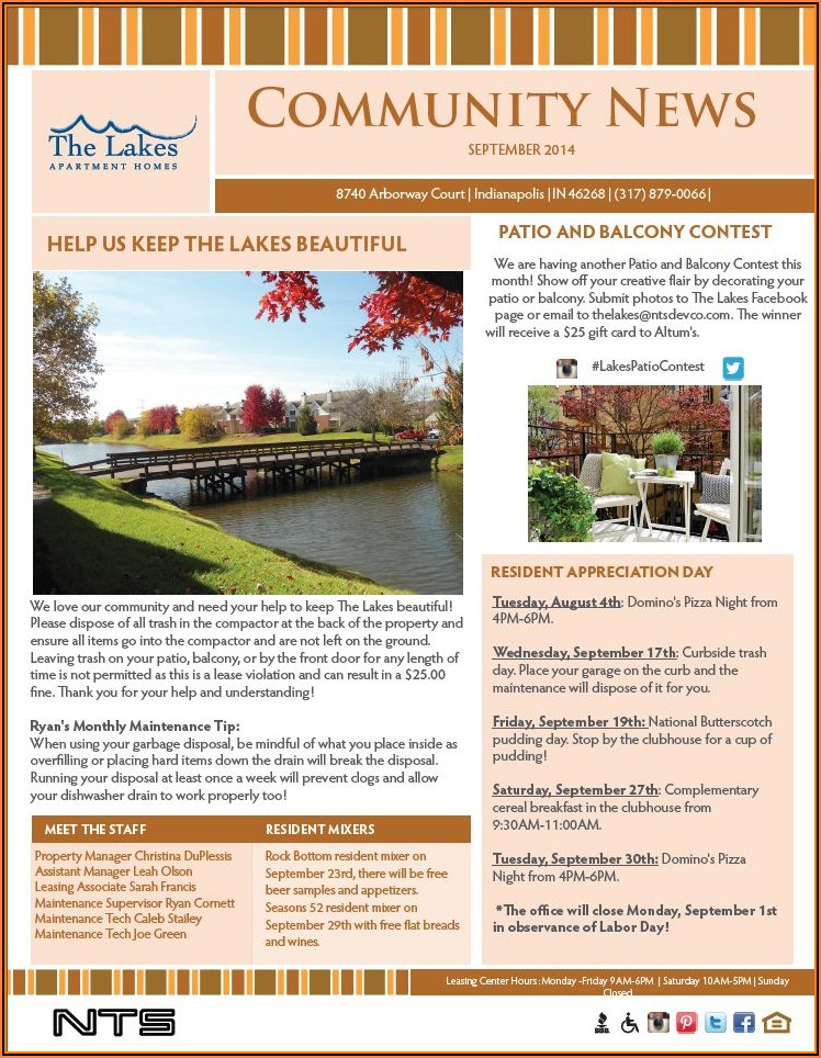 Free Apartment Community Newsletter Templates