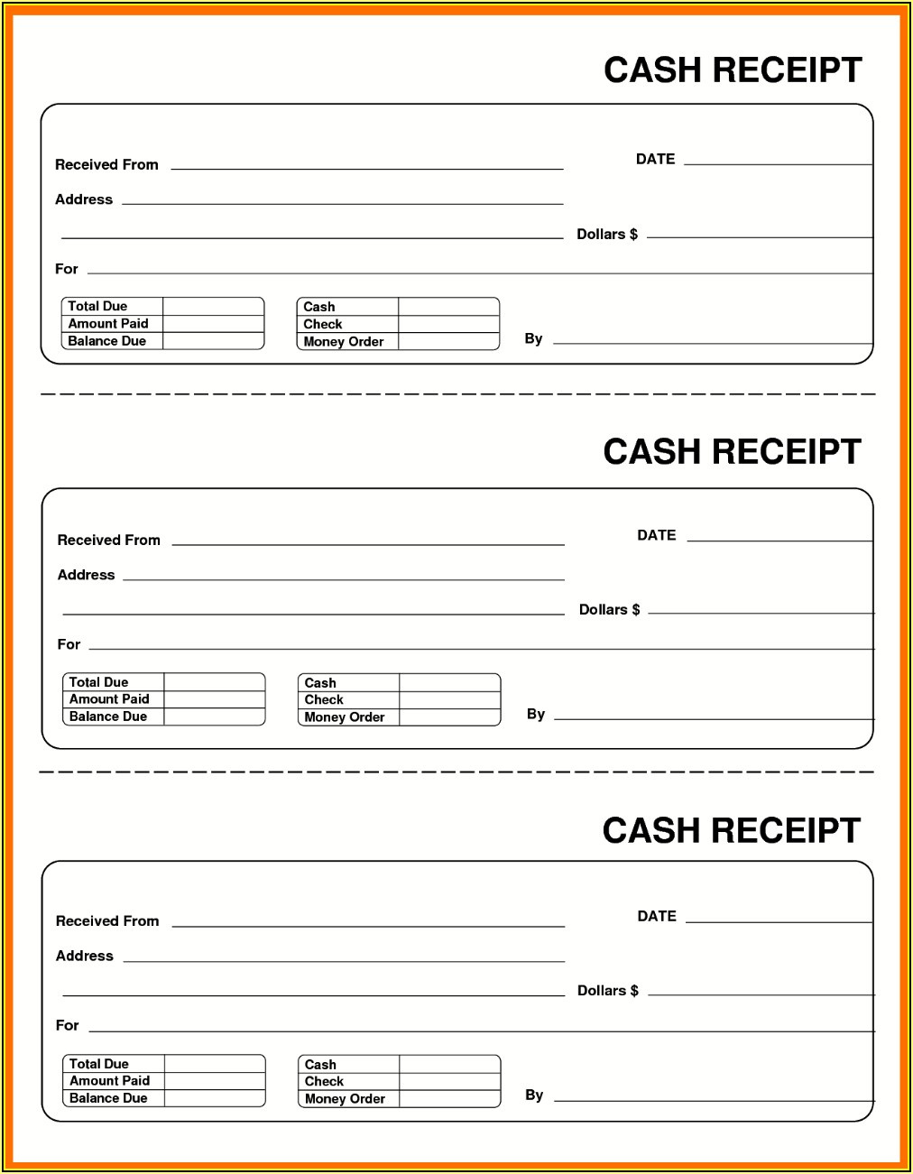 Free Blank Cash Receipt Template