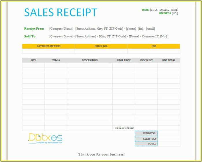 Free Blank Sales Receipt Template