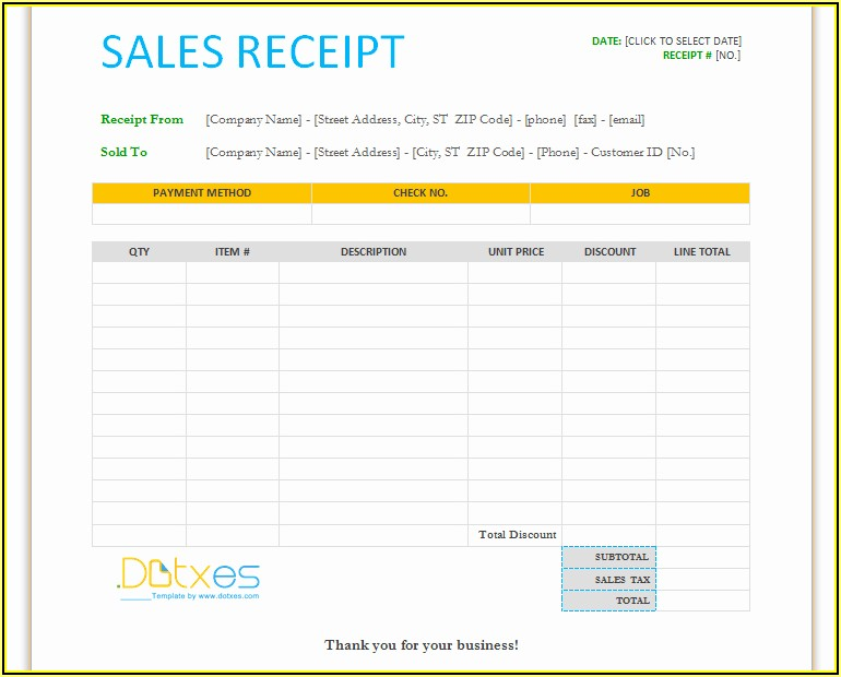 Free Blank Sales Receipt Template