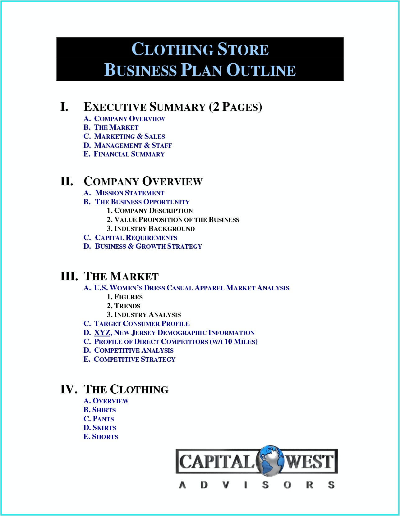 Free Business Plan Template For Retail Clothing Store