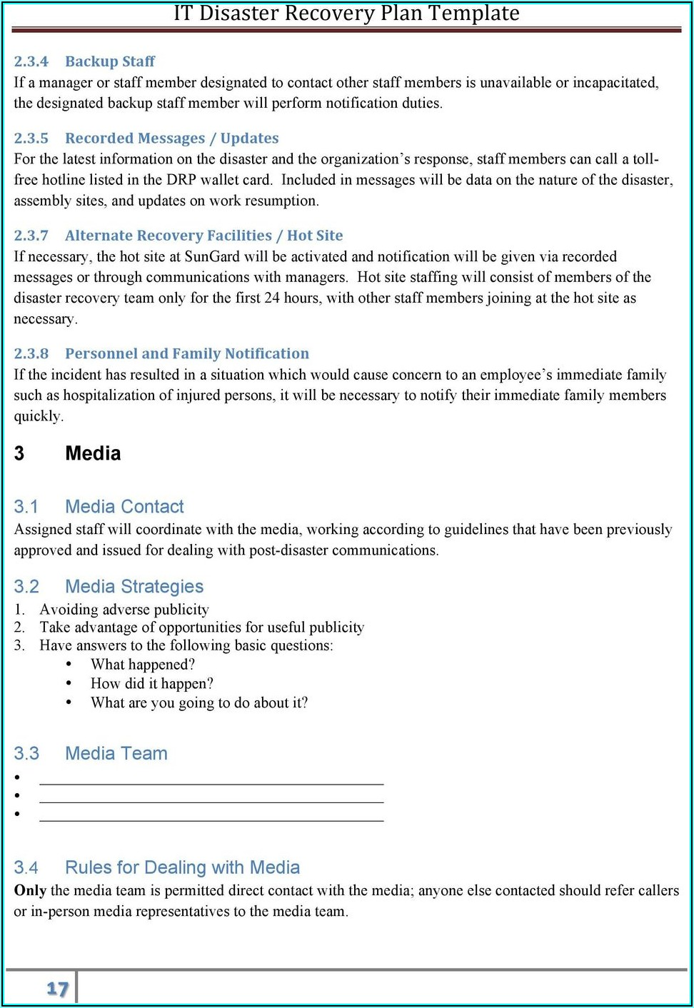 Free Disaster Recovery Plan Template