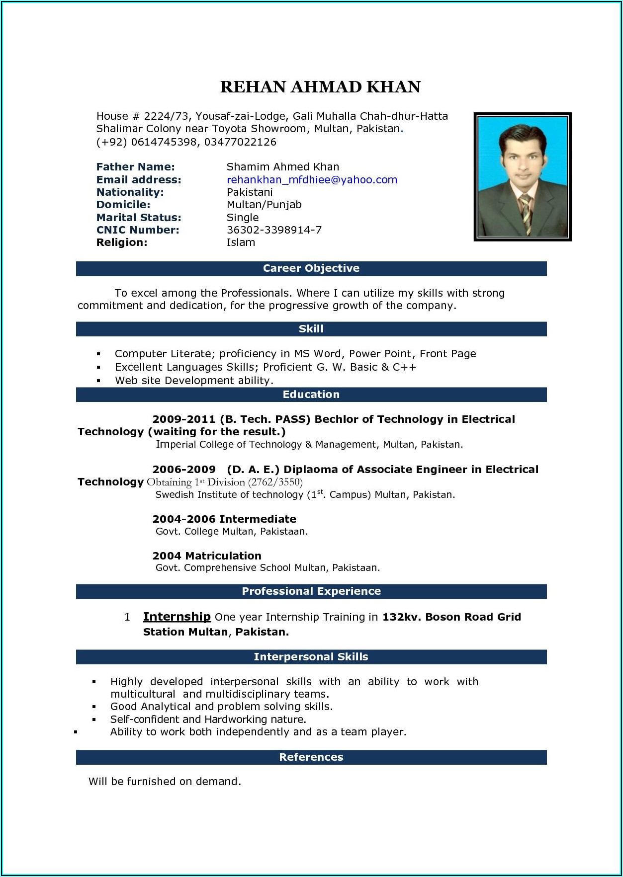 Free Download Cv Templates Microsoft Word